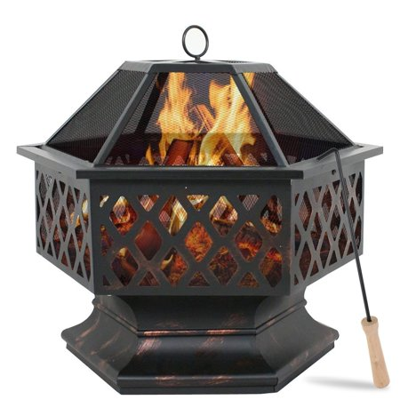 24'' Fire Pit, Outdoor Wood Burning Fire Pit with Poker and Spark Screen Cover, 2-in-1 Hexagon Fire Pit for Heating/BBQ, Ideal for Camping Picnic Bonfire Patio Backyard Garden