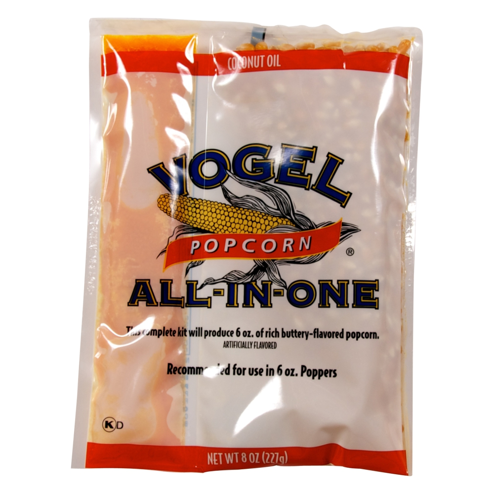Vogel Popcorn Kit with Popcorn, Salt, and Coconut Oil for 6 Ounce Poppers Case of 36