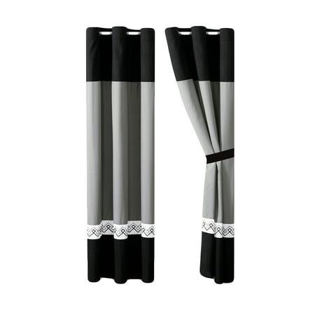 4-Pc Riya Diamond Meander Greek Key Stripe Curtain Set Black White Gray Drape Sheer Liner Grommet - Black White Stripes