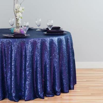 122 in. Round Sequin Tablecloth Navy Blue for $<!---->