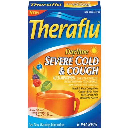 Theraflu Berry Infused W/Menthol & Green Tea Flavors Daytime Severe Cold & Cough Packets 6 Ct