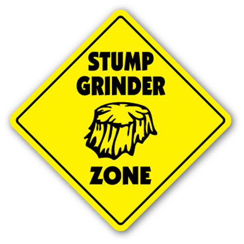 "Stump Grinder Zone [3 Pack] of Vinyl Decal Stickers | 4"" X 4"" 