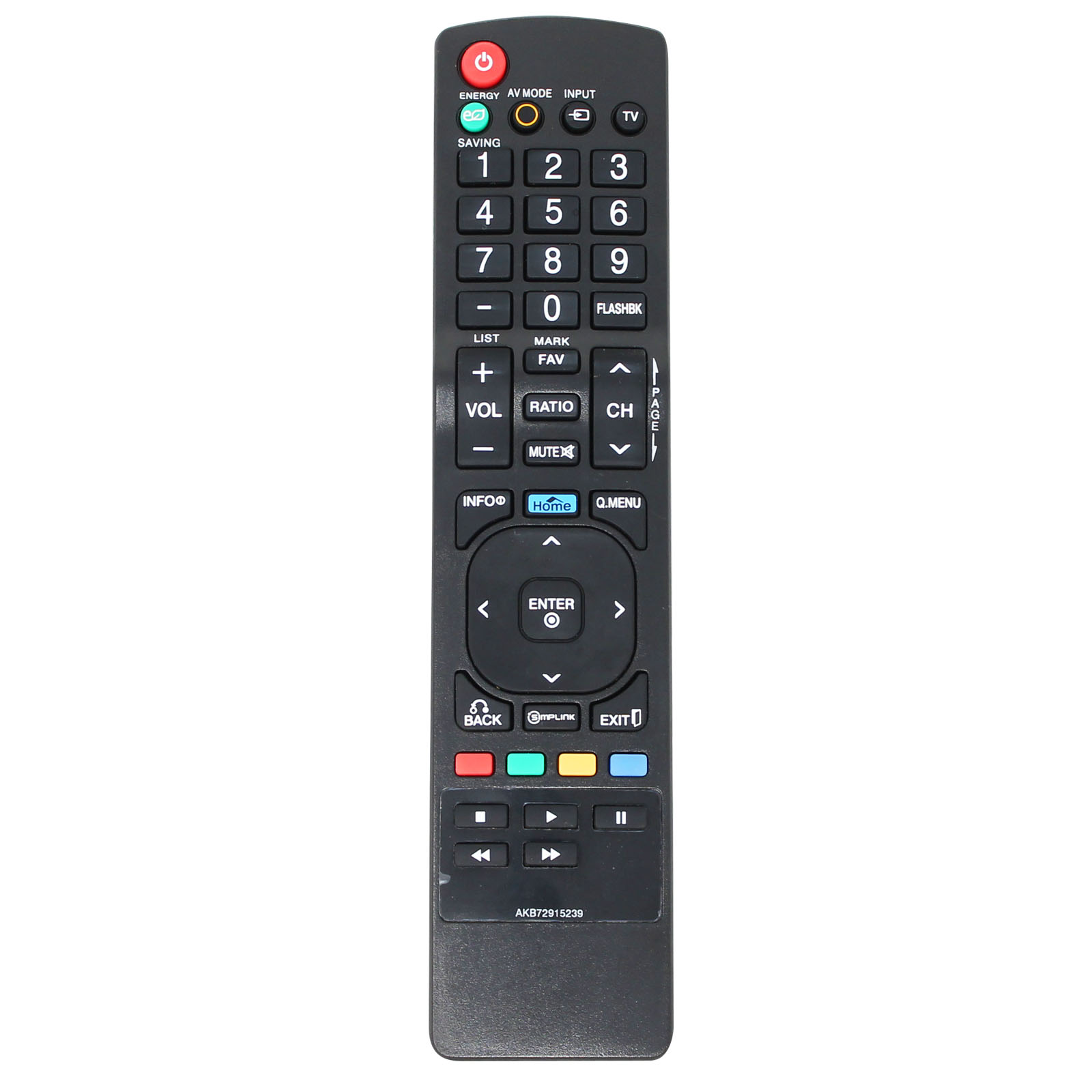 Replacement HDTV Remote Control for 55LB5900, 42LB5600, 32LF500B, 47LB5900, 26LV2500, 42LK450, 55LK520, 32LK450, 47LK520, 32LK330, 32LB5600, 42LK520 - Compatible with LG TV AKB72915239 Remote Control - image 1 of 3