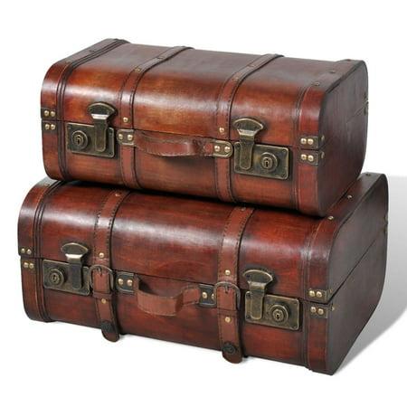 Yosoo Wooden Treasure Chest 2 pcs Vintage Brown (Treasure Chest Vintage)