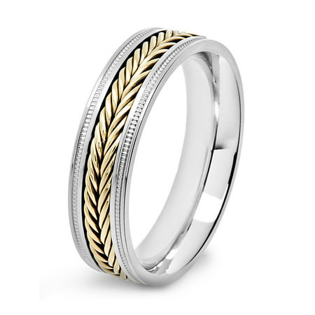 Stainless Steel Fish Ring (Stainless Steel Two Tone Fish Braid Inlay Milgrain Ring)
