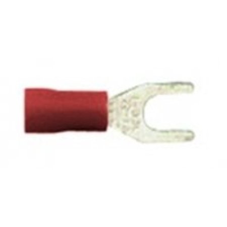 Vinyl Insulated #10 Size Fork Terminal 22-18 Gauge (Red) - 100 Pieces, Forked spade type terminals for screw down connections By First Source