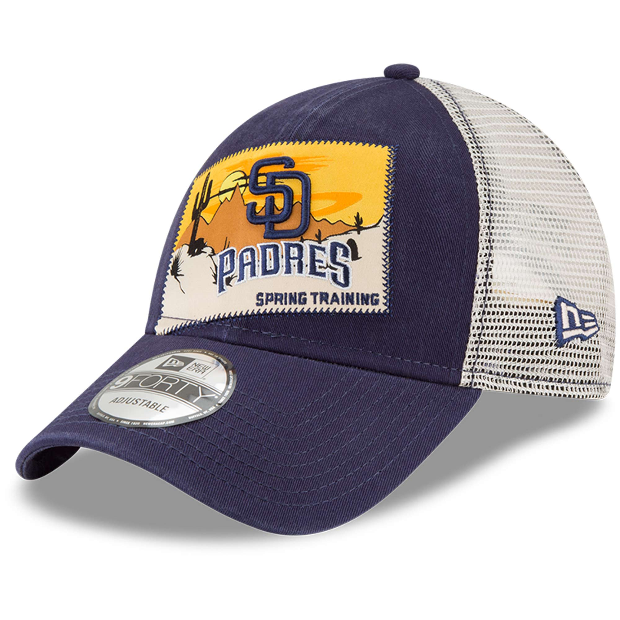 San Diego Padres New Era 2018 Spring Training Patched 9FORTY Adjustable Trucker Hat - Navy - OSFA