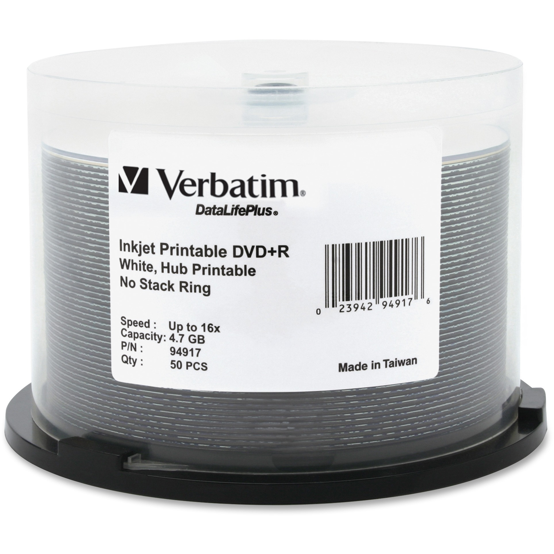 Verbatim, VER94917, 16X White Inkjet Printable DVD+R, 50, White