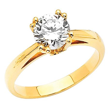 Jewelry 14k Yellow Gold 1ct TGW Round-cut Diamonette Solitaire Tulip Engagement Ring](Tulip Rings)