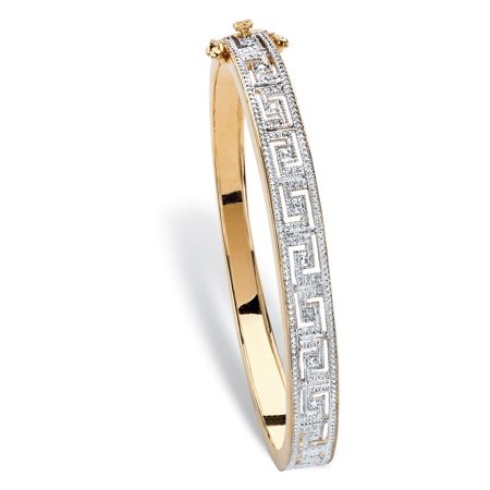 White Dial Two Tone Bracelet (Diamond Accent Two-Tone Greek Key-Link Bangle Bracelet 18k Yellow Gold-Plated 7.5