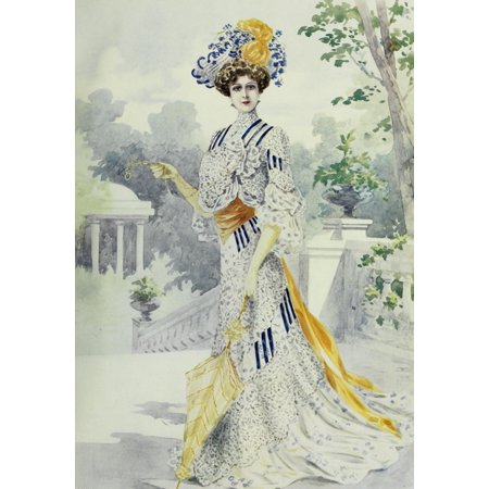 Latest Paris Fashions 1877 Costume de Garden Party Poster Print by Unknown