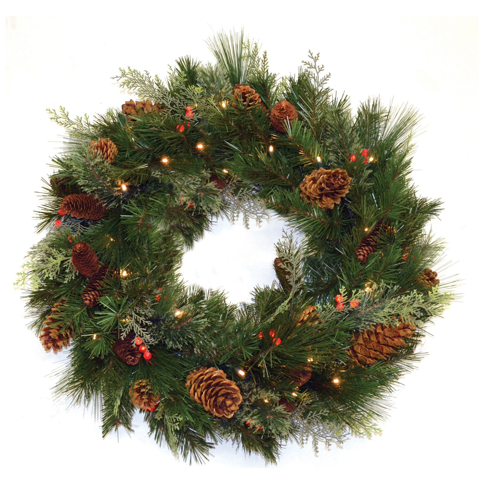 30 in. White Pine Pre-lit LED Wreath - Battery Operated