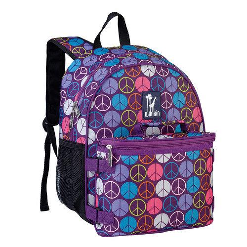 Wildkin 66212 Peace Signs Purple Bogo Backpack