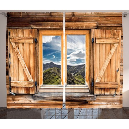 Apartment Decor Curtains 2 Panels Set, Mountain And Sky View From A Wooden Shuttered Window Room On Top Of The Hills Nature Look, Living Room Bedroom Accessories, By Ambesonne (Hill Living Room)