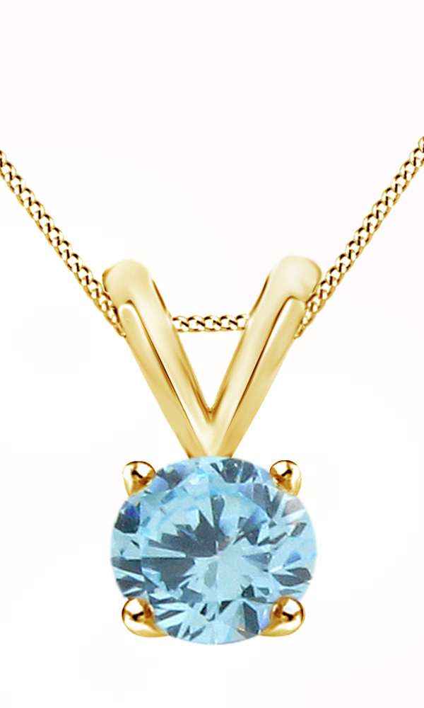 Round Cut Simulated Blue Aquamarine Solitaire Pendant Necklace In 14k Solid White Gold (1.15 Cttw) by Jewel Zone US