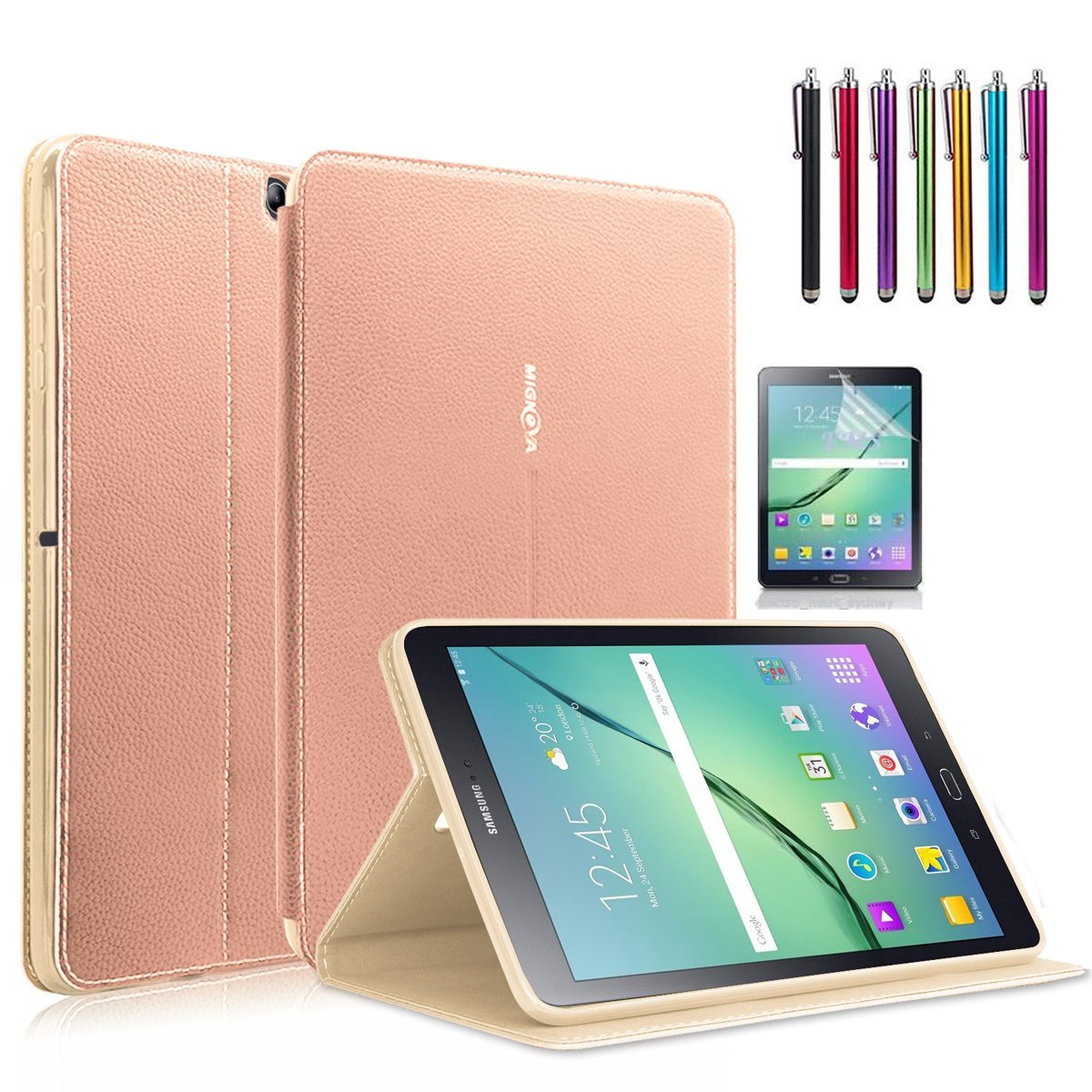 Samsung Galaxy Tab S2 8.0 Case, Mignova - Auto Sleep /Wake, Card Pocket, KickStand Feature, Premium PU Leather Folio Smart Cover Case + Screen Protector Film and stylus pen (Rose Gold)