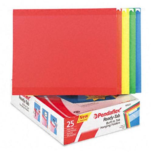 Esselte Pendaflex 42621 Ready-Tab Reinforced Hanging Folders  1/3 Tab  Letter  Assorted Colors  25/Box