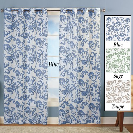 Grommet Top Sheer Curtain Panel with Floral Scroll Linen Pattern, Blue, 63