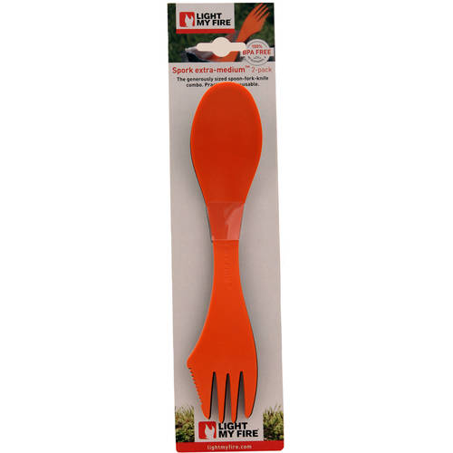Light My Fire Spork XM 2-Pack Black and Orange, by Light My Fire