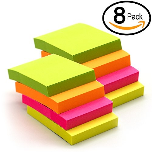 """emraw tiny sticky notes stick it stickies, plain small 1.5"""" x 2"""" rectangular neon bright colored removable self stick on note memo pad for office, home, school - pack of 8 pads"""