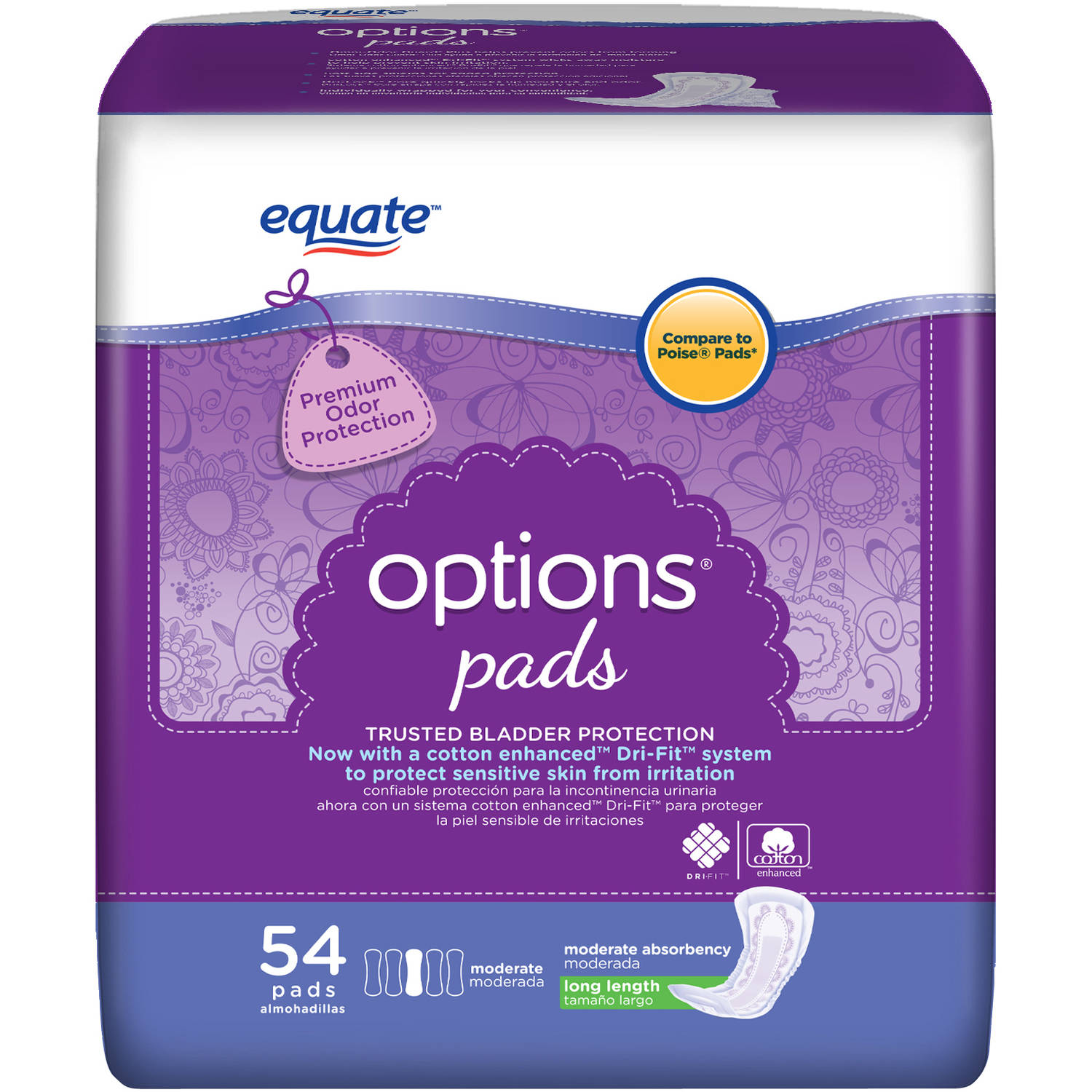 Equate Options Moderate Long Bladder Control Pads, 54 count