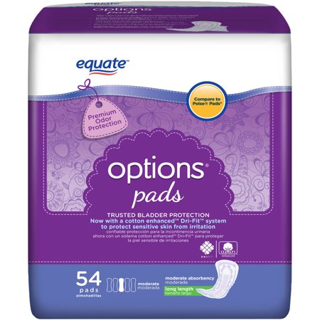 Equate Options Moderate Long Bladder Control Pads 54