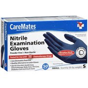CareMates Powder-Free Nitrile Examination Gloves, Small, 50 Count