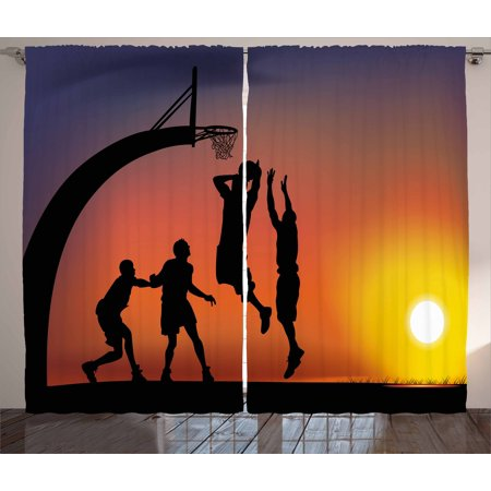 Sunset Window Windows (Teen Room Decor Curtains 2 Panels Set, Boys Playing Basketball at Sunset Horizon Sky Dramatic Scene, Window Drapes for Living Room Bedroom, 108W X 84L Inches, Dark Coral Black Yellow,)