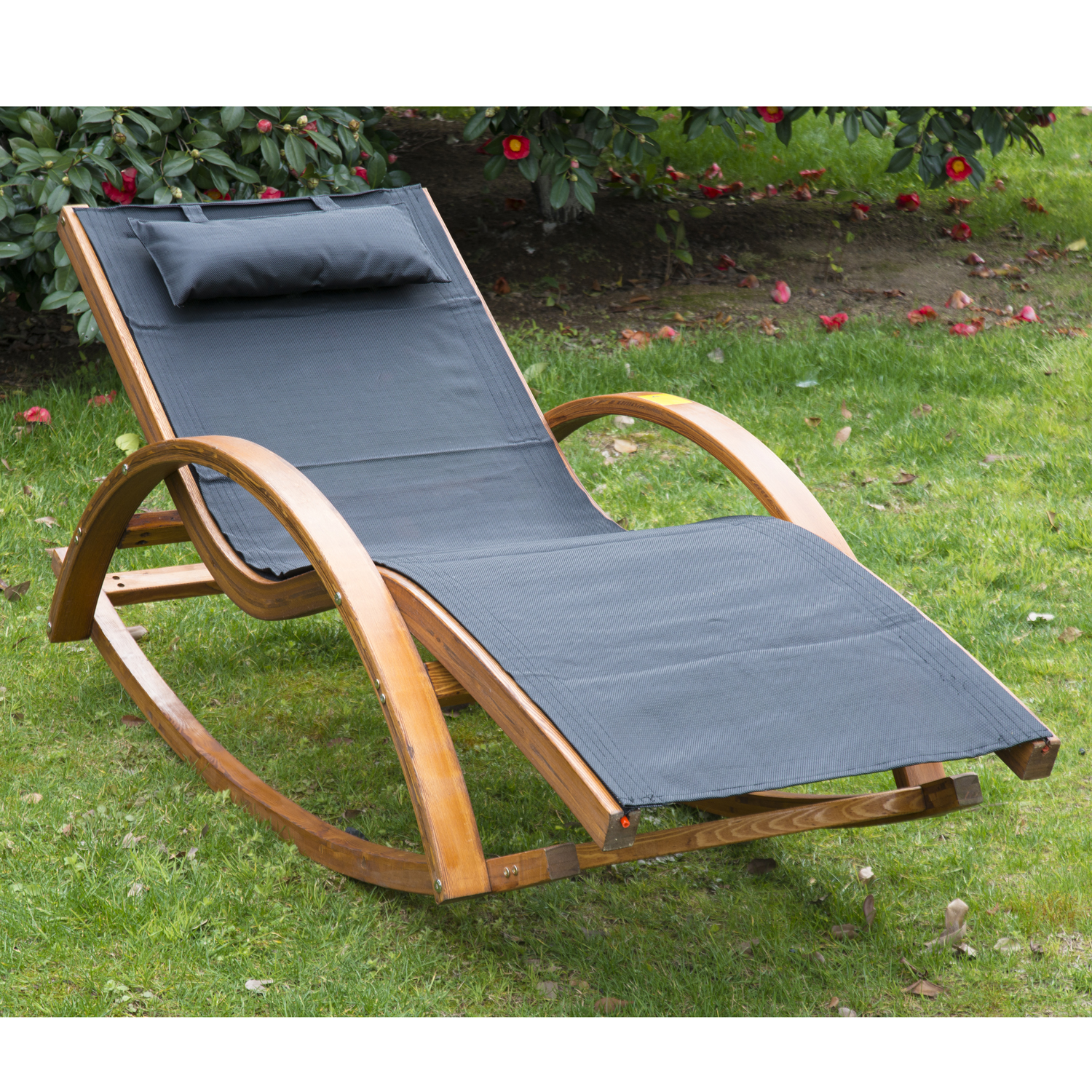 Outsunny Rocking Mesh Patio Recliner w/ Pillow - Black