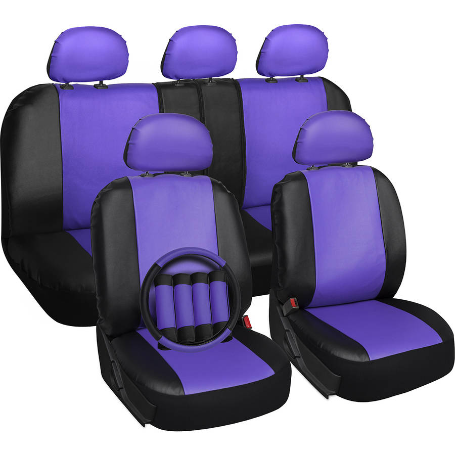 Oxgord 17-Piece Set Faux Leather/Auto Seat Covers Set, Airbag Compatible, 50/50 or 60/40 Rear Split Bench, Universal Fit for Car, Truck, or SUV, FREE Steering Wheel Cover, Purple