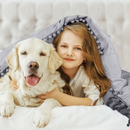 Pompons Duvet Cover and Sham Set King Size Bedding Soft Washed Cotton, Gray - image 1 de 8