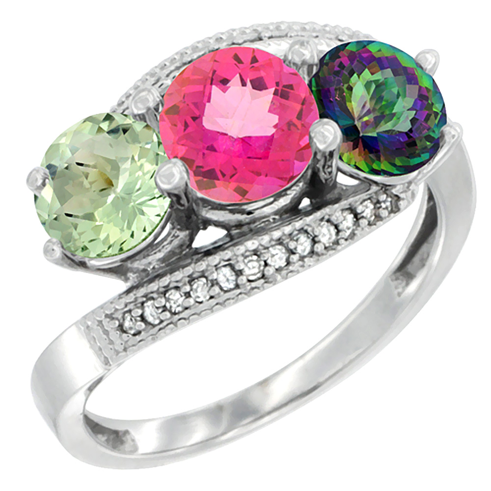 10K White Gold Natural Green Amethyst, Pink & Mystic Topaz 3 stone Ring Round 6mm Diamond Accent, sizes 5 - 10