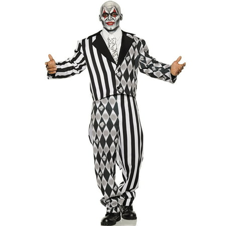Black And White Costume (The Jester Mens Two Toned Black White Clown Tuxedo Halloween)