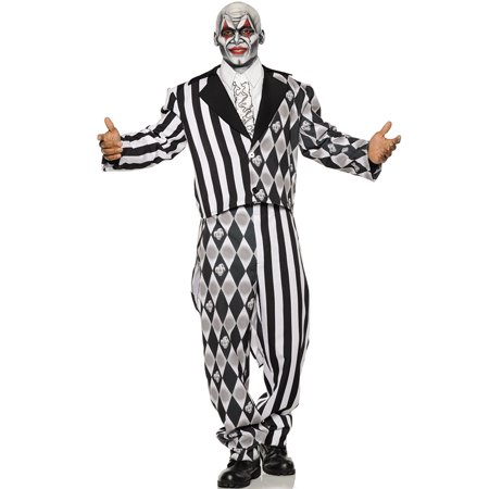 The Jester Mens Two Toned Black White Clown Tuxedo Halloween Costume - Halloween Tuxedo
