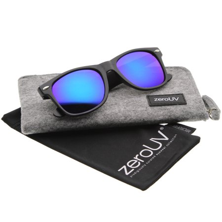zeroUV - Matte Finish Color Mirror Lens Large Square Horn Rimmed Sunglasses 55mm - (Large Square Sunglasses)