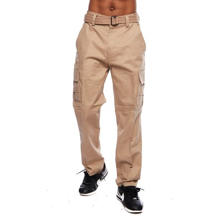 Mens Basic Belted Cargo Pants Big Mens Plus Size Urban Hip Hop Long Pants P108A - Plus Size Men