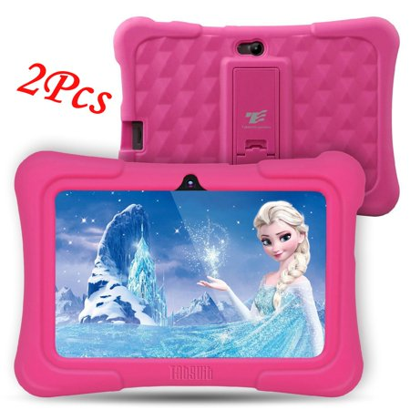 2Pcs DragonTouch Pink Newest Y88X Plus 7 inch Kids Tablet Quad Core Android 6.0 Tablet With Children Apps 1GB / 8GB Kidoz Pre-Installed Best gifts for