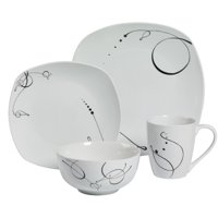 Tabletops Unlimited 16-Piece Pescara Soft Square Dinnerware Set