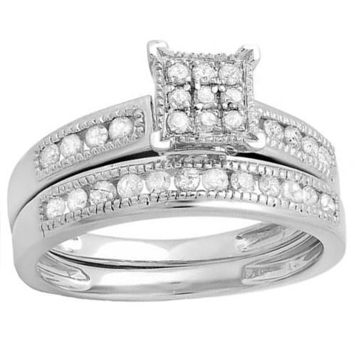 Sterling Silver 1/2ct TDW Round White Diamond Engagement Bridal Wedding Band (I-J, I2-I3) Size 7