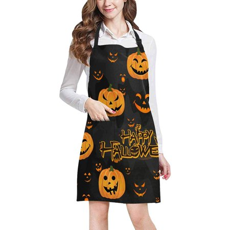 ASHLEIGH Halloween Decor Funny Abstract Pumpkin Scary Face Adjustable Bib Apron with Pockets Commercial Restaurant and Home Kitchen Adjustable Apron (Scary Halloween Restaurant Names)