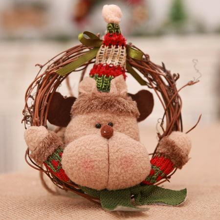 Christmas Wreath Rattan Doll Reindeer Christmas Tree Pendent