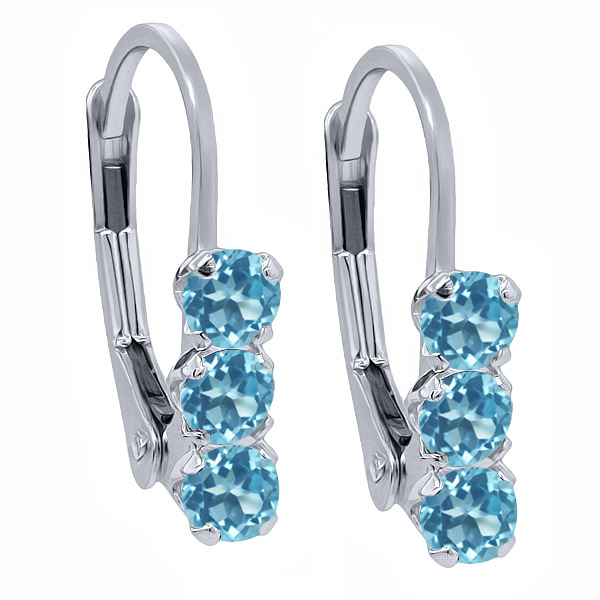 0.90 Ct Round Swiss Blue Topaz 925 Sterling Silver 3-Stone Earrings