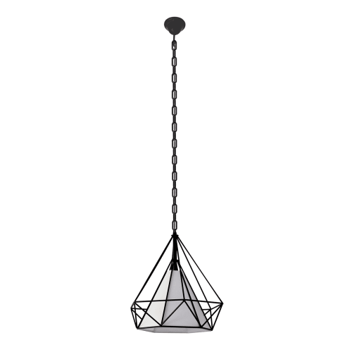 "Bazz Lighting P15231 Vesta Single Light 15"" Wide Cage Pendant with White Fabric"