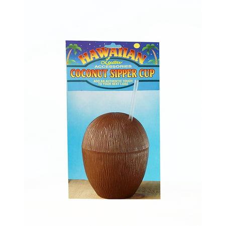 Hawaiian Luau Party Tiki Bar Coconut Cup, Fun and festive novelty coconut cup with straw By Forum - Hawaiian Novelties