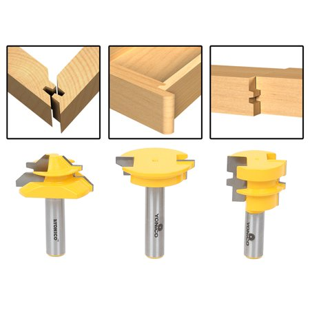 Joining Router Bit (3Pc. Jointing Router Bit Set -Lock Miter, Glue Joint, Drawer Front -Yonico 15336 )