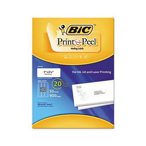 BIC Easy Print & Peel White Mailing Labels BICBWL3030WHI