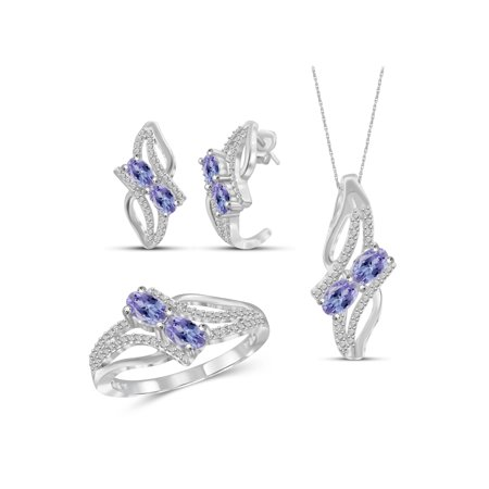 2.00 Carat T.G.W. Tanzanite And White Diamond Accent Sterling Silver 3-Piece Jewelry set