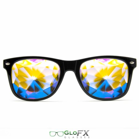 GloFX Ultimate Kaleidoscope Glasses - Black - Rainbow EDM Rave Light Diffraction Eyewear (Black) - Rainbow Glasses