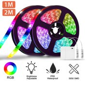LED Strip Lights Battery Powered, Flexible 3.3/6.6ft RGB LED Light Strip with Mini Controller, SMD5050 30/60 LEDs Rope Lights Color Changing LED Strip Kit for Home Bedroom DIY Party Indoor Outdoor