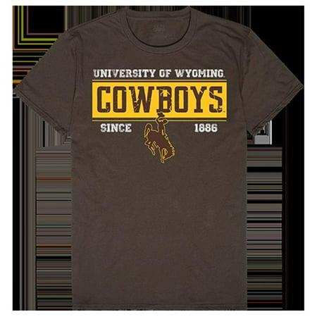 W Republic Apparel 507-200-313-03 University of Wyoming Established Tees for Men, Brown - Large - image 1 de 1